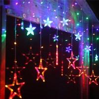 RGB 스타 커튼 요정 빛 멋진 LED 문자열 빛 웨딩 크리스마스 조명 요정 크리스마스 파티 홈 정원 룸 호텔 장식