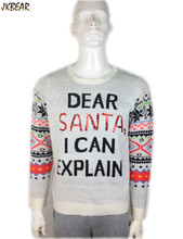 Funny 'Dear Santa I Can Explain' Ugly Christmas Sweaters for Women and Men Boys and Girls Sequin Xmas Sweater Plus Size S-2XL