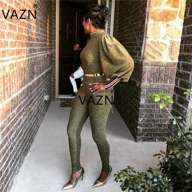 VAZN Autumn 2018 New Reduction of age Fashion High Quality Women   Jumpsuits   Solid High Collar Full Length Slim Romper BN9120