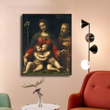 Laeacco Canvas Calligraphy Painting Classic Raphael Wall Art Madonna del Cardellino Posters and Prints Home Living Room Decor
