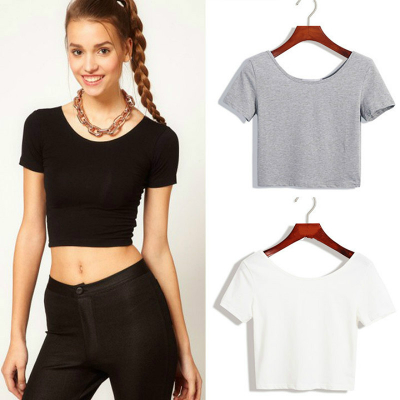 Short Sleeves Tops Sexy Cool 90s Basic Tees Cropped Tops Fashion Slim Brand Fitting T Shirt Corset Clubwear Blusa
