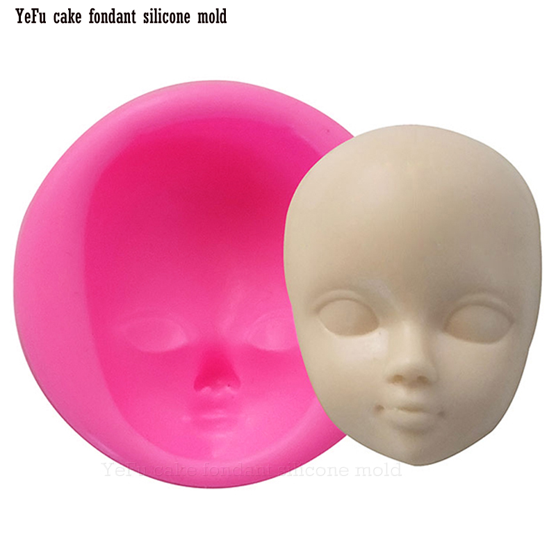Baby face girl Head chocolate silicone cetakan untuk alat menghias kek Polimer Clay Resin Candy Fimo Super Sculpey F0929