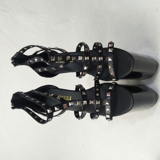 Sandales Étanche Cm Décoration Élégant Talons Rivet Aiguilles Noir Haute 20 Nouveau qBzwHn