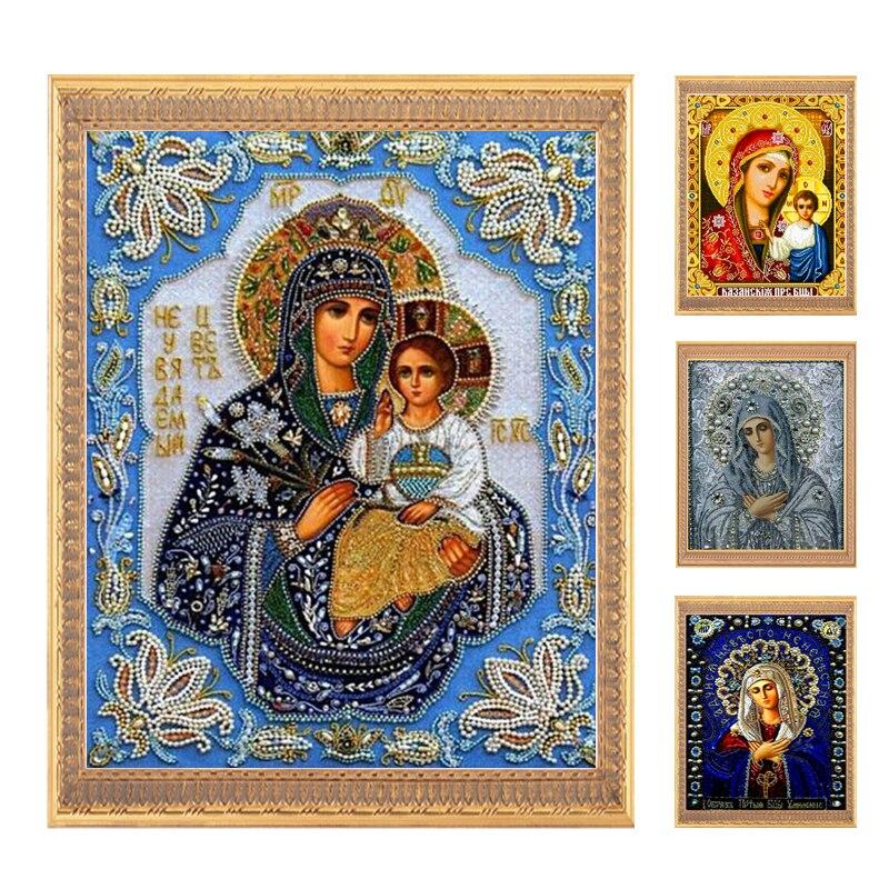Zlaté panno, 5D, diy diamantové výšivky, částečné, kulaté, Diamantové malování, křížový steh, 3D, diamant, Mosaic, Vyšívání, řemesla, náboženství