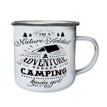 Aço inoxidável acampamento caneca de café meio menina retro esmalte aniversário natal ao ar livre metal esmalte fogueira copo