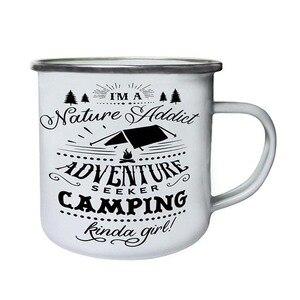 Image 1 - Edelstahl Camping Kaffee Becher Camping Irgendwie Mädchen Retro Emaille Geburtstag Weihnachten Im Freien Metall Emaille Lagerfeuer Tasse