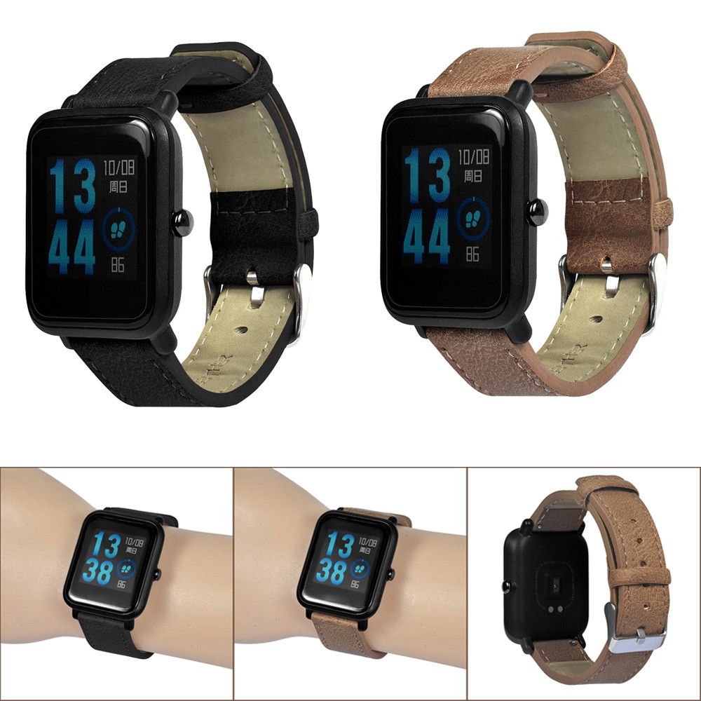 For Xiaomi Huami Amazfit Bip Youth Watch Retro Replacement Bracelet Leather Band For Xiaomi Huami Amazfit Bip Youth Watch M.15 hiperdeal breathable watch band lightweight ventilate wrist strap comfortable wristband for huami amazfit bip youth watch