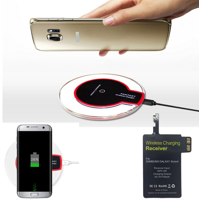 Note 4 Qi Wireless Charger Pad + Receiver For Samsung Galaxy Note 4 N9100 N910F N910C SM-N910F N910cq Wireless Charging Kit
