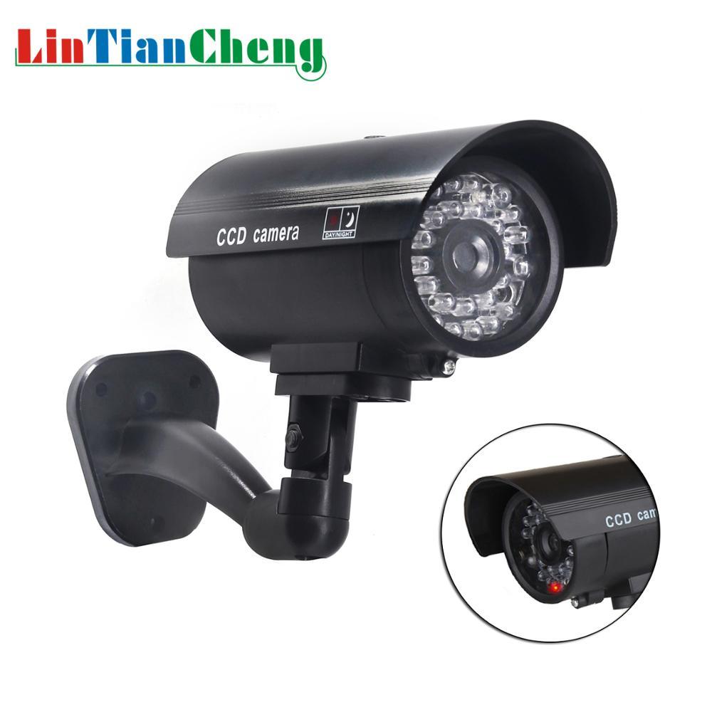 Lintiancheng falso manequim câmera bala à prova dwaterproof água ao ar livre knipperend led cctv para a segurança em casa/rua câmera de vigilância