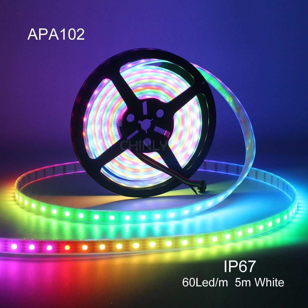 APA102 Smart LED bande Pixels lumière étanche 5m 1m 30/60/144 LED s/m Pixels données et horloge séparément DC5V bande lumières