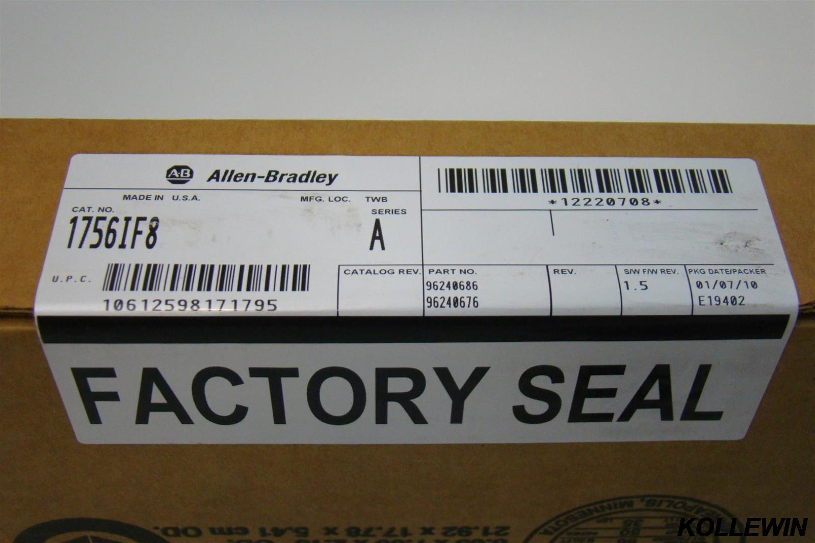 New Original Allen Bradley 1756-IF8 ControlLogix 8 Point A/I Module 1756-IF8 PLC module 1756 IF8 factory sealed 1 year warranty allen bradley 1756 pa75 1756pa75 controllogix ac power supply new and original 100% have in stock free shipping