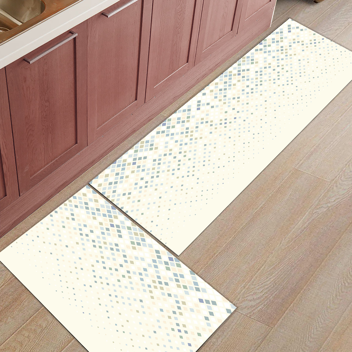 Tapis de cuisine nordique géométrique 2 pièces paillassons pour entrée accessoires de salle de bain Set saleté débris boue trappeur chaussures de démarrage gratter