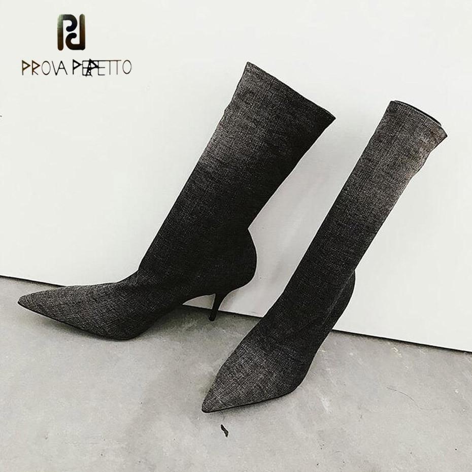 Prova Perfetto 2018 популярные женские короткие ботинки пикантные женские ботинки челси на шпильке с острым носком серые синие джинсовые слипоны бо