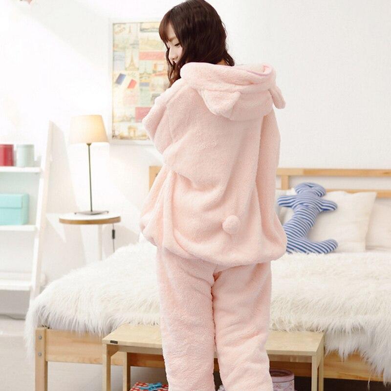 2018 Vintervarme kvinder Pyjamas Fluffy Fleece Onesie Pyjamas Pink - Undertøj - Foto 4