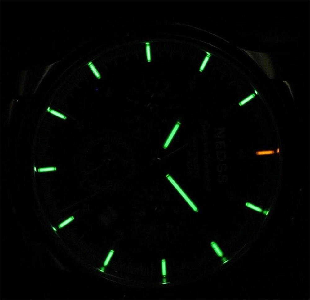 High quality NEDSS New Arrival 100m Waterproof Tritium Gas Tube Luminous Men Automatic Mechanical Watch Wrist Watch Relogio Masc