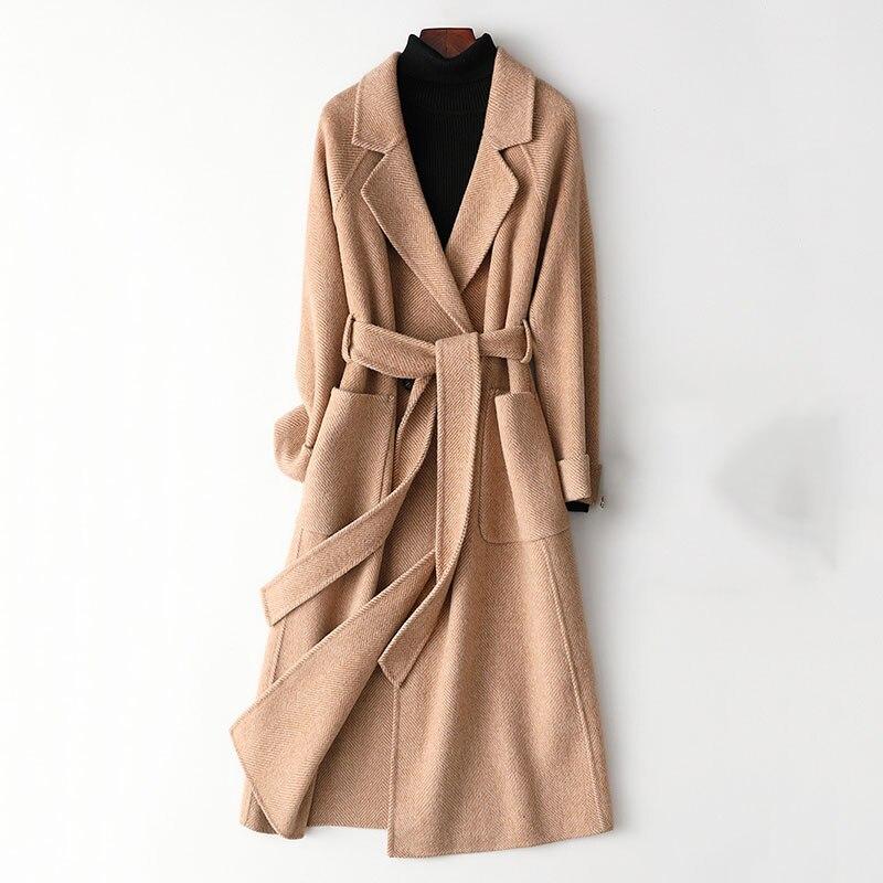 High Quality Double-faced Cashmere Coat Women's Long Trench Coat 2019 New Wool Blends Outerwear Female Winter Woolen Windbreak