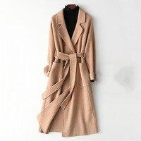 High quality double faced cashmere coat women's long trench coat 2019 new wool blends outerwear female winter woolen windbreak