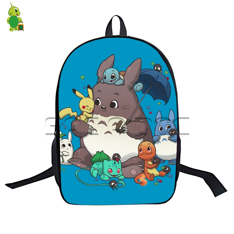 16 Inch Chibi My Neighbor Totoro Backpack For Teenagers Boys Girls Cartoon Sailor Moon Schoolbags Funny Anime Travel Backpack