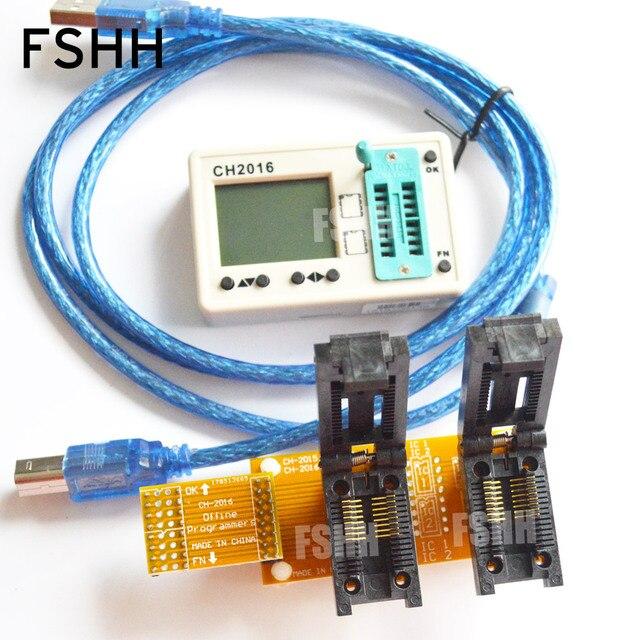 CH2016 USB SPI FLASH programmeur + Clamshell 300mil SOP16 + SOP16 test socket Productie 1 drag 2 programmeur