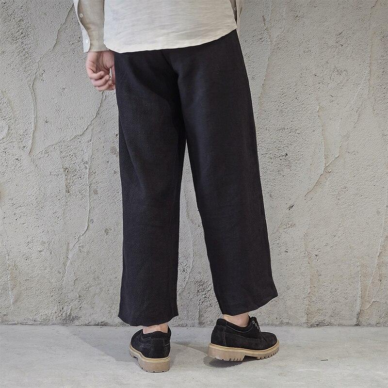 Black 2018 Estilo Azul Moda Harén brown Otoño Ancho Blue dark Lino Lujoso Pantalón Marrón Nuevo Alta Pantalones Sueltos De Calidad Recta Negro YqBYfFwU