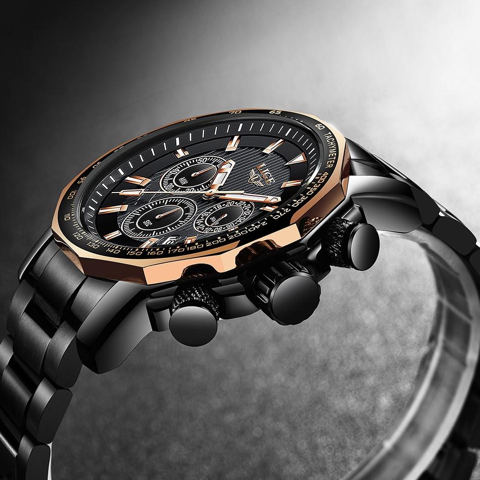 LIGE Men Watch Fashion Business Quartz Large Dial Clock All Steel Top Brand Luxury Waterproof Sport