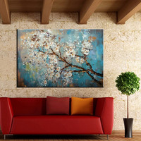 Handmade Plum Floral Paintings Large Hand Painted Abstract Flower Oil Painting On Canvas Wall Art Pictures