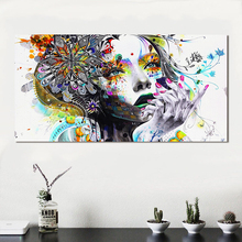 Modern Canvas Print Art Girl With FLowers Wall Abstract Pictures For Living Room Modular Home Decor Frameless