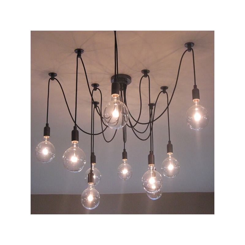 Modern Nordic Retro Edison Bulb Light Chandelier Vintage Loft Antique Adjustable DIY E27 Art Spider Ceiling Lamp Fixture Light loft antique retro spider chandelier art black diy e27 vintage adjustable edison bulb pendant lamp haning fixture lighting