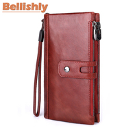 Bellishly New Genuine Leather Men Wallet Male Cell Phone Clutch Coin Purse Walet Portomonee PORTFOLIO Clamp For Money Bag Handy