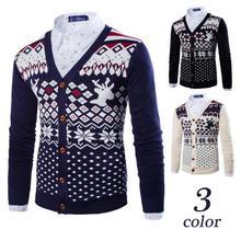 2016 New Winter Men Folk Style European Sweater Slim Fawn Cardigan Metrosexual Size
