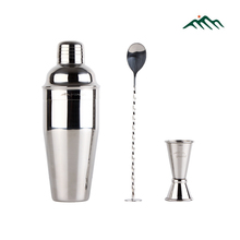 Greenhill 3 Pieces Barware Cocktail Shaker Bartool Kit includes 24oz 18-8 Stainless Steel Shaker, Double End Jigger & Bar Spoon
