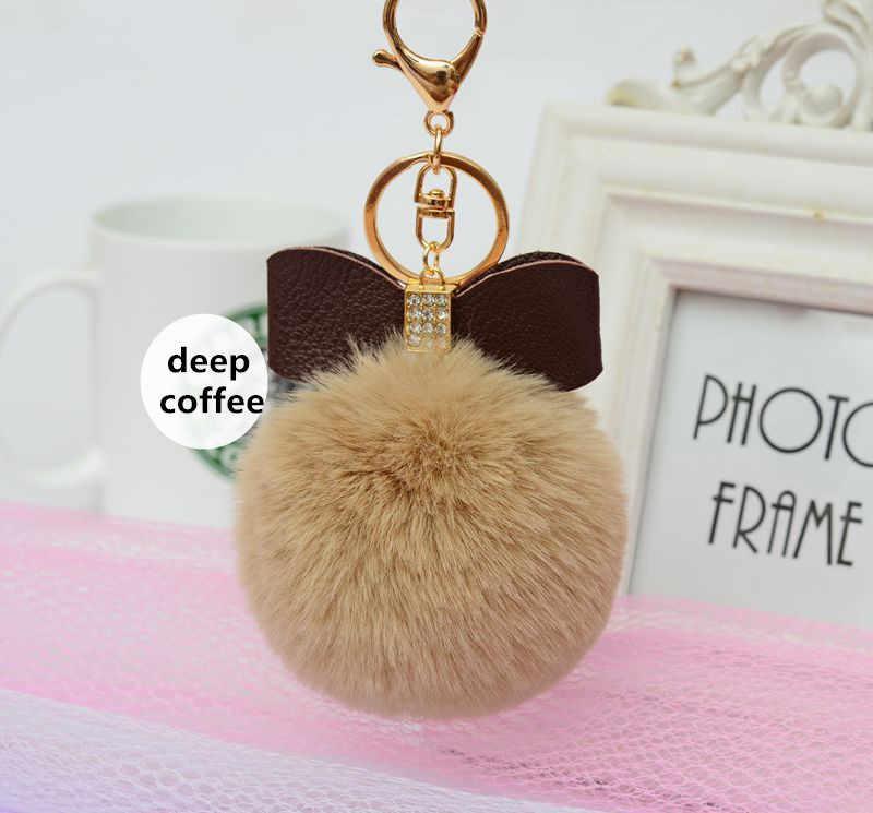 7 centímetros Pompom De Pele Macia Bowknot Rhinestone Faux Rex Rabbit Fur Bola Chaveiro Chaveiros Chaveiro Mulheres Saco Carro Pingente acessórios