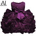 Ai Meng Baby Little Girl 1 Year Birthday Party Dress Newborn Christening Gown Fluffy Purple Baby Dresses For Baptism Wedding 2T