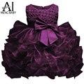 Ai meng bebé niña 1 año birthday party dress Púrpura Mullido Del Bebé recién nacido Traje de Bautizo Vestidos De Bautizo Boda 2 T