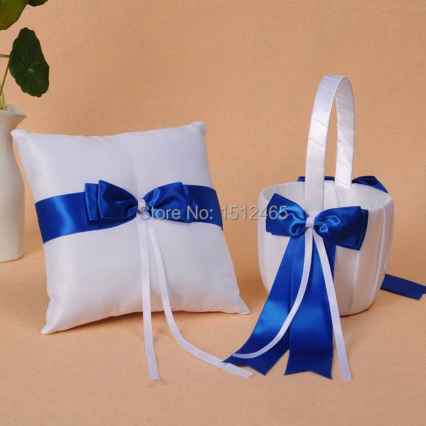 White and royal blue bowknot satin wedding flower girl basket and white and royal blue bowknot satin wedding girl flower basket and ring pillow wedding decorations n33g junglespirit Image collections