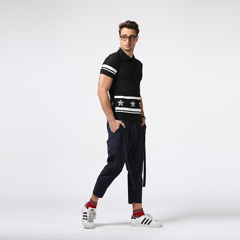 New Novelty 2017 Men Stars Print Fashion Polo Shirts Shirt Hip Hop Cotton Polos Top Tee
