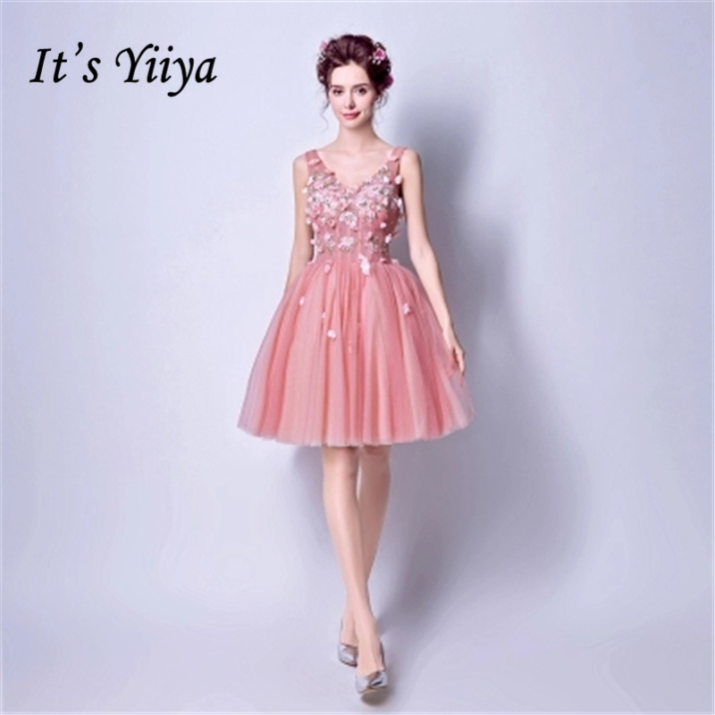 It's YiiYa Cocktail Dress 2018 Party V-Neck Sleevless Flower Appliques Fashion Designer Cocktail Gowns LX897