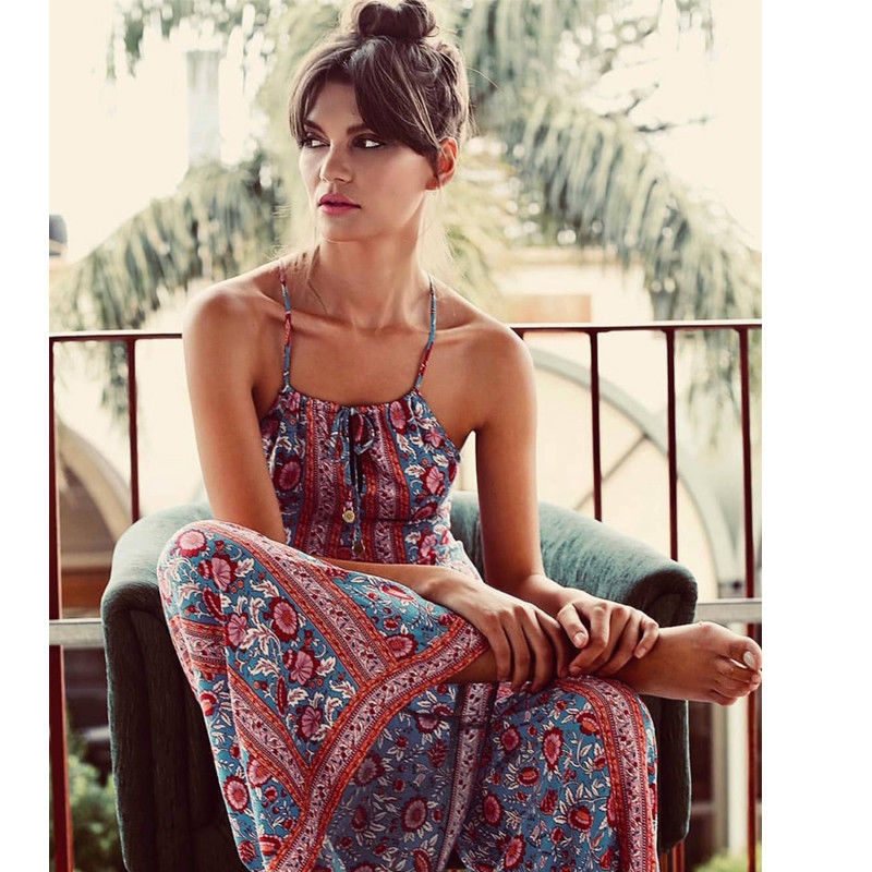 2018 Women Ladies Summer Fashion Boho Tall slim Indie Folk print Geometric Lace up Halter backless Long   Jumpsuit   Holiday wear