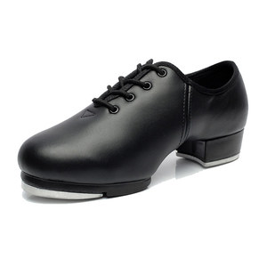 Image 1 - Sneaker Dance Adult Lace Stage Performance Cowhide Soft Bottom Tap Shoes Man Tap Sports Dancing Children Male Dance Shoes Men