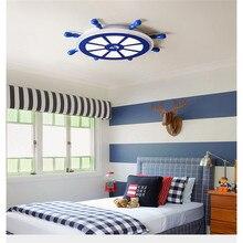 Modern creativity LED ceiling lamp Blue Rudder sailing for girl Childrens Bedroom light boy study room wood E27