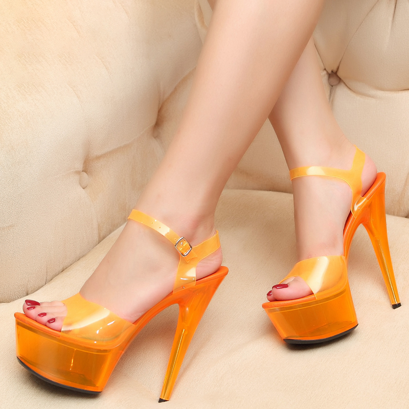 Platform Sandals 15cm Stripper High Heels Jelly Shoes Women Summer Transparent Ladies Party Shoes Fenty Beauty Sandals Big Size
