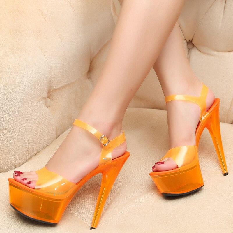 صنادل أرضية 15 سنتيمتر المتعرية عالية الكعب جلاتين حذاء المرأة الصيف شفافة السيدات أحذية الحفلات فينتي الجمال الصنادل كبيرة الحجم-في كعب عالي من أحذية على  مجموعة 1