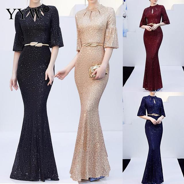 Red Sequined Luxury Evening Dress Women Half Sleeve Hollow Mermaid Long Party Dress Bodycon Elegant Prom Gown Sexy Club Dresses 2