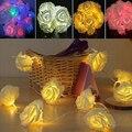 Hermosa Iluminación de Vacaciones 10 LED White Rose Flower Garden Party Luces de Hadas de Cuerda Boda Romántica Casa Adminículo Decorativo