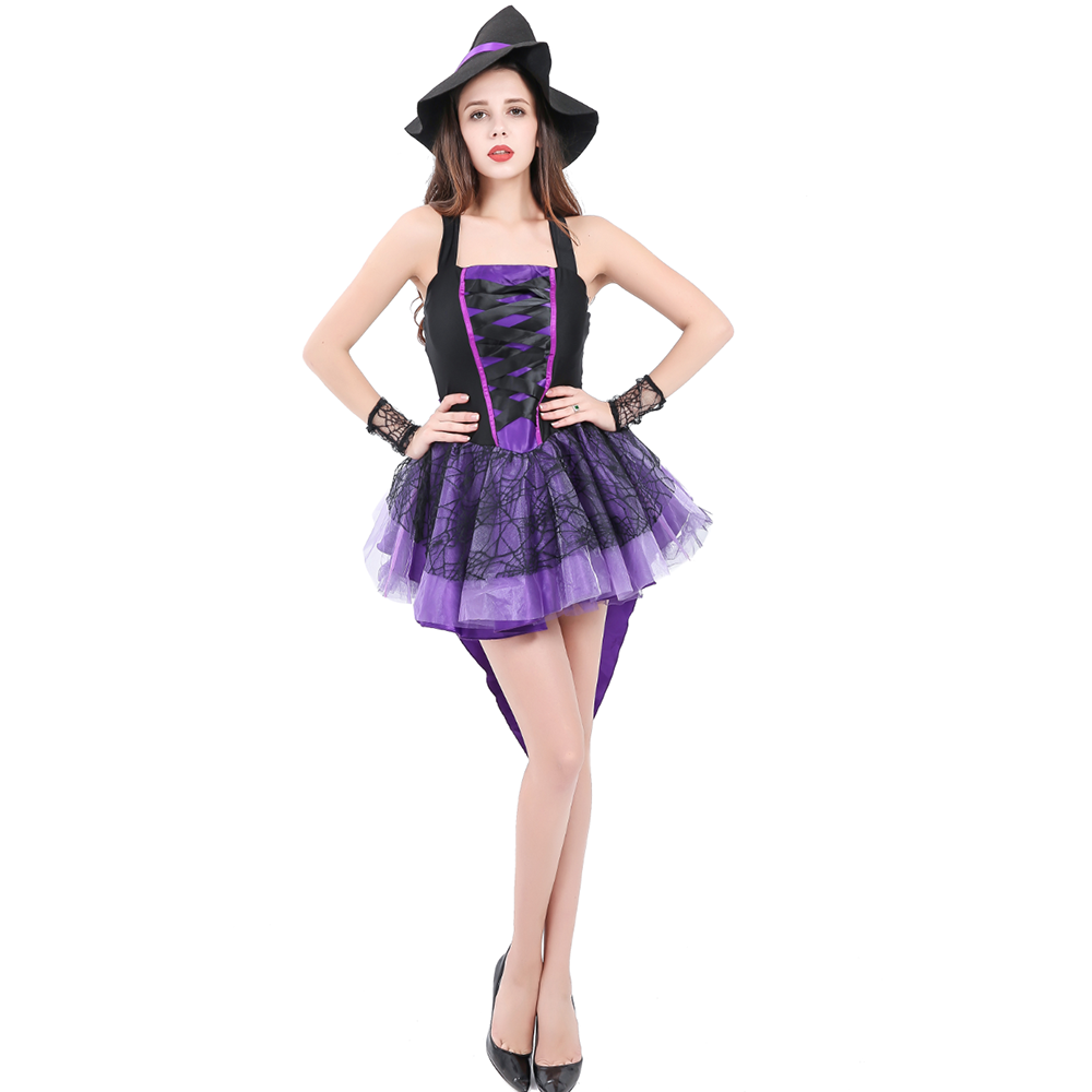 Adult Women Halloween Sexy  Purple Fairy Tale Witch Costume Fantasia party Cosplay Fancy Swallowtail Dress With Hat