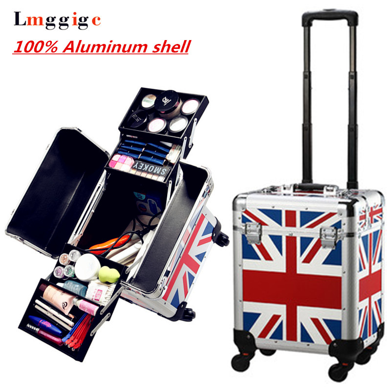 100% Aluminum shell Cosmetic Case,Cabin size Nails Makeup Bag,Rolling Beauty Toolbox ,Travel Trolley Luggage Box,Wheel Suitcase