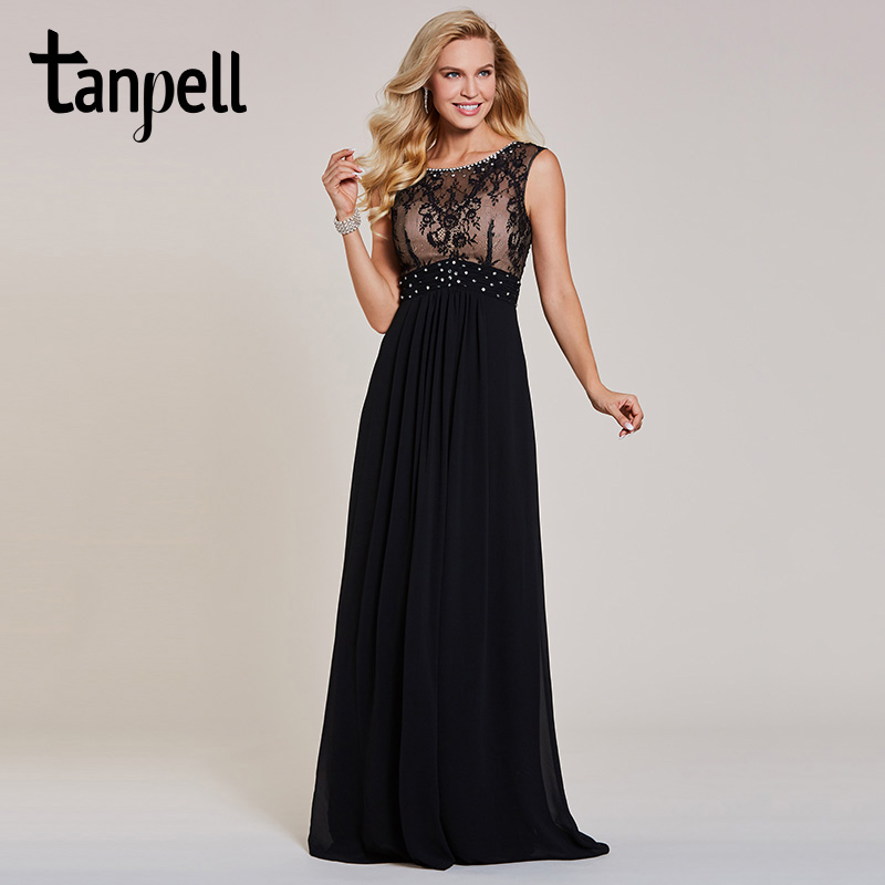Tanpell beaded long evening dresses black scoop cap sleeves floor ...