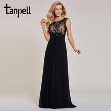 Длинное вечернее платье tanpell с бисером черное трапеция до