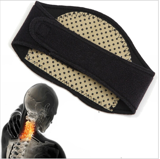 Magnetic Neck Wrap Tourmaline Self-heating Neck Support Pain Relief Thermal Therapy Medical Neck Brace self tie neck cuffded sleeves curved hem blouse