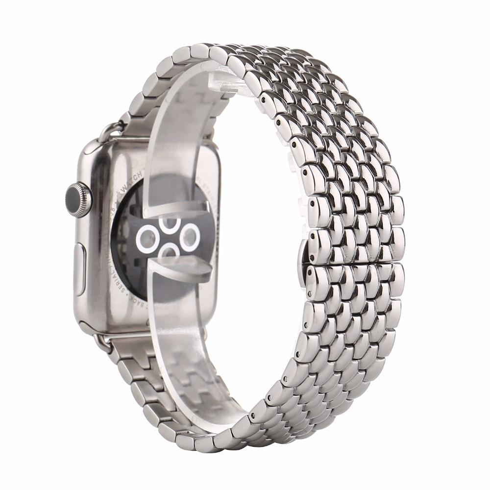 Prix pour Noir argent or rose inoxydable montre en acier de courroie de bande pour apple watch 42mm 7 perle en métal hommes montre-bracelet bracelet i181.
